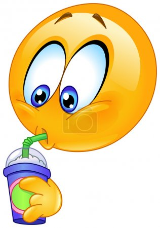 Illustration for Emoticon drinking soda from a disposable cup - Royalty Free Image