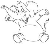 Outlined cheerful elephant raising his hands Vector illustration coloring page