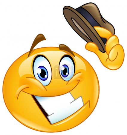Illustration for Emoticon tipping his hat - Royalty Free Image