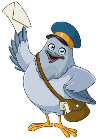 Illustration pour Pigeon transporteur dessin animé - image libre de droit