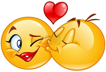 Illustration for Kissing emoticons. Male emoticon kissing a female emoticon. - Royalty Free Image