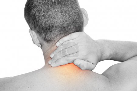 Foto de Young man having neck pain - Imagen libre de derechos