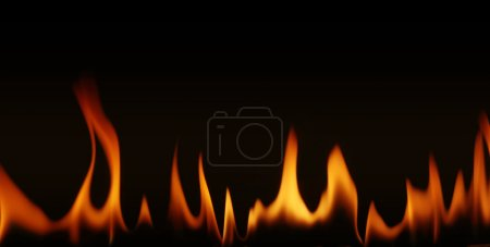 Foto de Llamas de fuego sobre un fondo negro - Imagen libre de derechos
