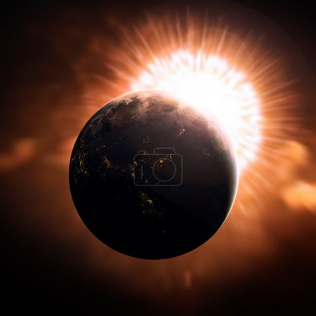 Photo for Earth as seen from outer space with sunrise - Royalty Free Image