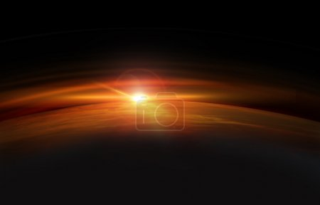 Earth in space with rising sun