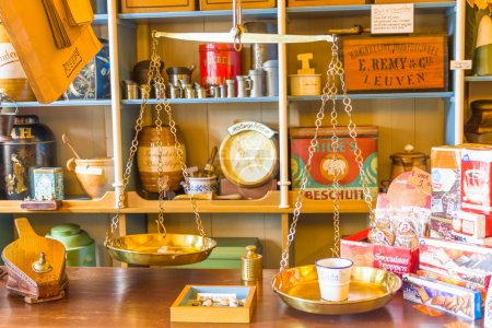 Retro scale and products in an old store, Zaandam, The Netherlands