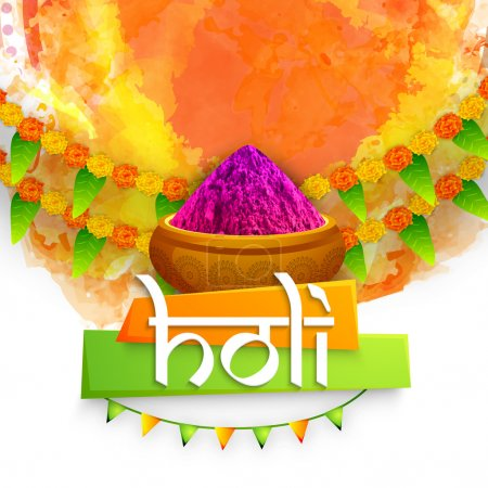 Photo pour Carte de vœux élégante avec poudre colorée (Gulaal) sur fond abstrait décoré de fleurs pour le Festival indien de la couleur, célébration Happy Holi . - image libre de droit