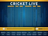 Creative Live Cricket schedule telecast video player window with participant countries names on blue background