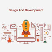 Flat style illustration for Design and Development