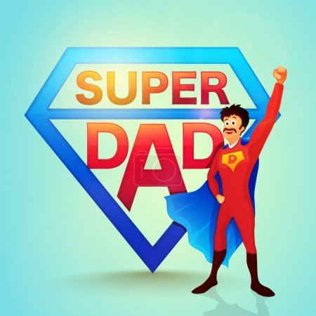 Illustration for Happy Super Dad on glossy background for Father's Day celebration concept. - Royalty Free Image