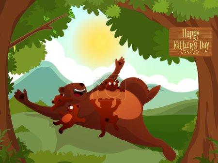 Illustration pour Père ours avec ses petits mignons, profiter et célébrer dans la forêt à l'occasion de la fête des pères . - image libre de droit