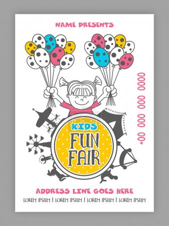 Kids Fun Fair Template, Banner or Flyer design.