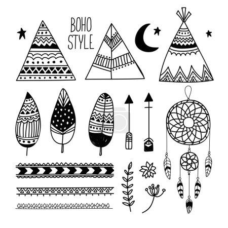 Set of ethnic boho elements.