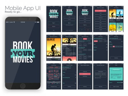 Illustration for Material Design UI, UX and GUI for Online Movie Booking Mobile Apps with Sign In, Sign Up, Select Location, Movie Details, Booking, Select Date and Time, Show Time, Choose Seat, Payment Option, Debit Card Payment and Booking Confirmation Screens. - Royalty Free Image