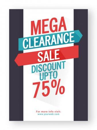 Illustration pour Mega Clearance Sale avec jusqu'à 75 % Offre de réduction, Affiche créative, Conception de bannière ou de flyer, Illustration vectorielle . - image libre de droit
