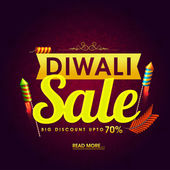Diwali Super Sale Flyer Bumper Dhamaka Poster Clearance Offer Banner Discount Upto 70% with glowing Firecrackers Vector illustration for Indian Festival of Lights Celebration