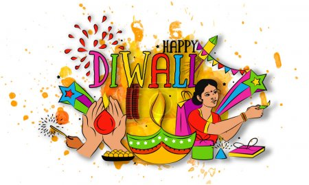 Colourful Elements for Diwali Celebration.