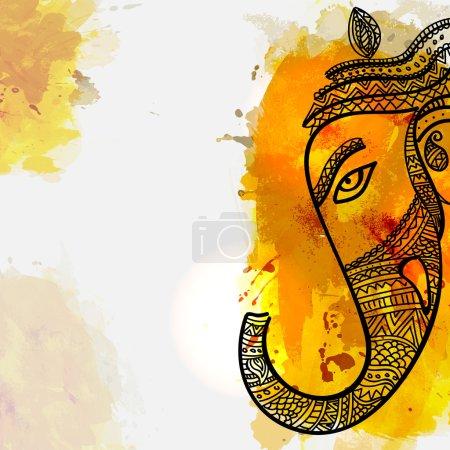 Illustration pour Illustration florale vectorielle de Lord Ganesha Face sur éclaboussure colorée pour le Festival Ganesh Chaturthi Célébré par les Indiens . - image libre de droit