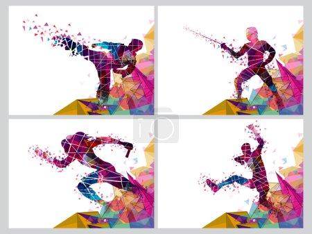 Photo pour Ensemble de quatre affiches sportives, bannière ou dépliant, illustration créative de Runner, joueur d'escrime et joueur d'art martial réalisée par un design abstrait coloré . - image libre de droit