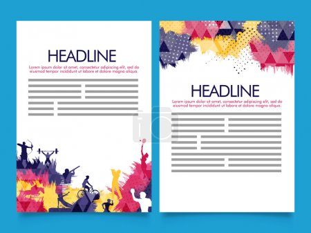 Illustration for Creative Two Page Brochure, Template or Flyer presentation with colorful abstract design and illustration of different sports. - Royalty Free Image
