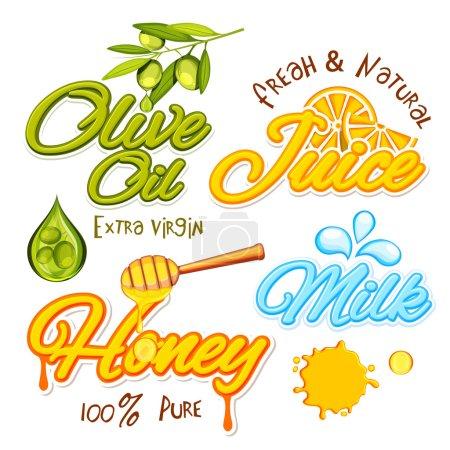 Illustration pour Collection typographique créative pour concept Aliments et Boissons, Huile d'olive, Jus, Miel et Lait Autocollant, Tag or Label design, Illustration vectorielle . - image libre de droit