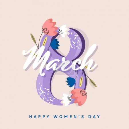 Illustration pour Conception de carte de voeux de jour de femmes avec le texte 8 décoré par des fleurs beautful. - image libre de droit