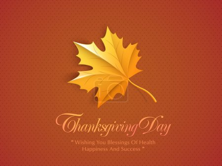 Illustration for Happy Thanksgiving Day concept with maple leaf and wishing massage on orange background. - Royalty Free Image