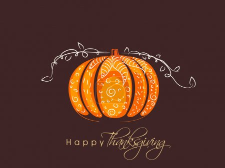 Illustration for Poster, banner or flyer for Thanksgiving Day celebration with pumpkin on brown background. - Royalty Free Image