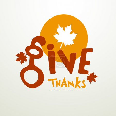 Illustration for Stylish text of Give Thanks with maple leaf for thanks giving day celebration. - Royalty Free Image