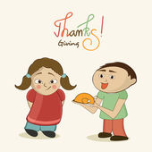 Little cute kids holding cooked chicken plate and stylish text of Thanksgivng for thanksgiving day celebration on beige background