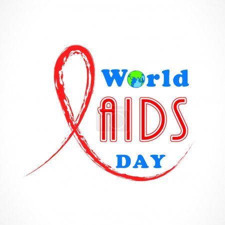 World Aids Day concept with red aids awareness ribbon.