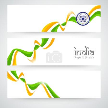 Indian Republic Day celebration web header or banner set.