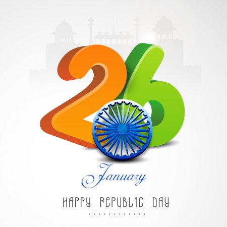 Indian Republic Day celebration with beautiful text and Ashoka Wheel.