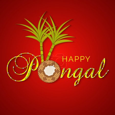 Concept of South Indian festival Happy Pongal celebrations.