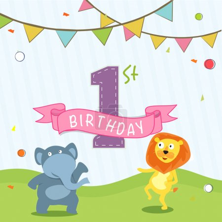 Kids 1st Birthday celebration Invitation card design.