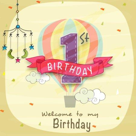 Illustration for Kids 1st Birthday celebration Invitation card with mobile crib. - Royalty Free Image
