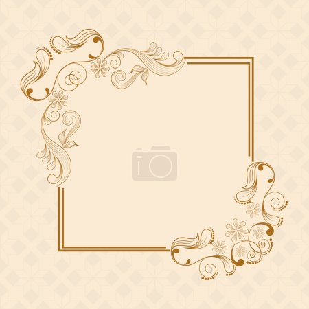 Beautiful floral design decorated frame in square ...