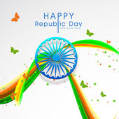 Indian Republic Day celebrations greeting card design with shiny Ashoka Wheel butterflies and colorful waves on grey background