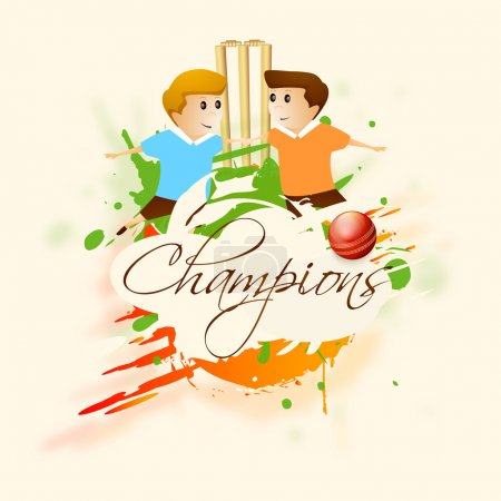 Cricket sports concept with kids, ball and stumps.