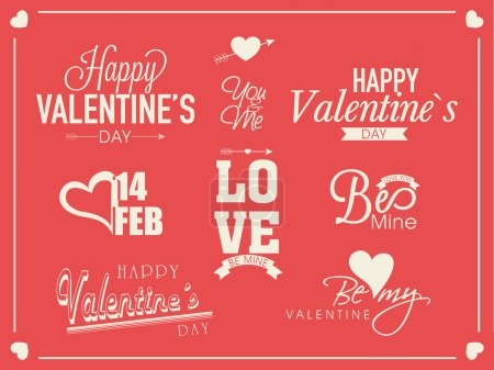 Illustration for Stylish typographic collection for Happy Valentines Day on pink background. - Royalty Free Image