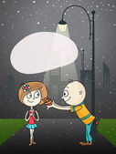 Cute boy cartoon offering chocolate to his beloved on night background on occasion of Happy Valentines Day