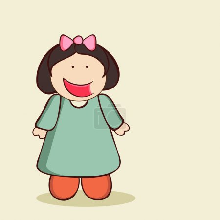 Illustration for Character of a cute laughing girl wearing green dress with a pink bow on her head. - Royalty Free Image