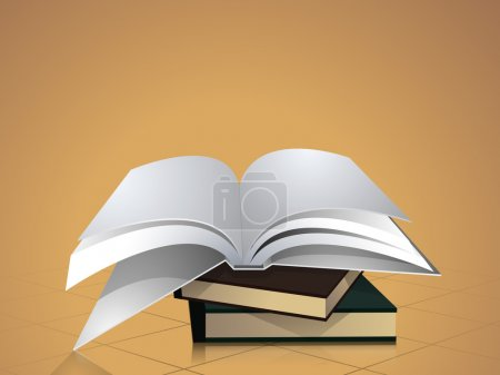 Concept of books stack with open book.