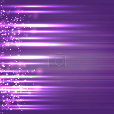 Illustration for Abstract design of sparkling rays on purple background. - Royalty Free Image
