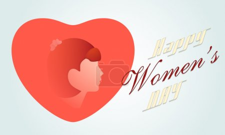 Happy Women's Day celebration with girl face on heart.