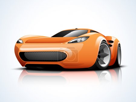 Illustration for Glossy high speed sports car design in orange color on blue and white background. - Royalty Free Image