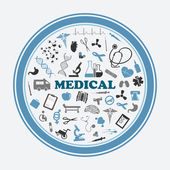 Poster and sticker with medical signssymbols and equipments