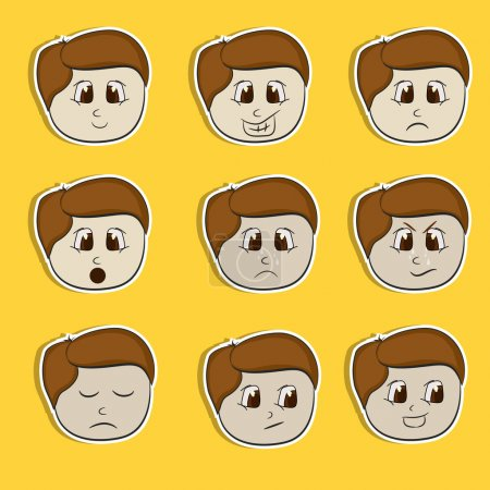 Sticker, tag or label set with different expressions.