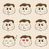 Set of different facial expressions on beige background