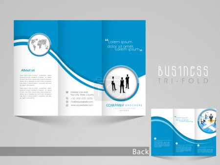 Illustration for Professional business tri-fold, flyer, template or corporate brochure design with front and back page view in blue and white color. - Royalty Free Image